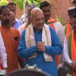 अमित शाह ने भाजपा कार्यालय में राज्य प्रभारियों के साथ की बैठक