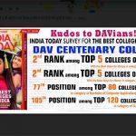 इंडिया टुडे सर्वेक्षण में डी ए वी कॉलेज को मिला सर्वोत्तम कॉलेजो की सूची में स्थान