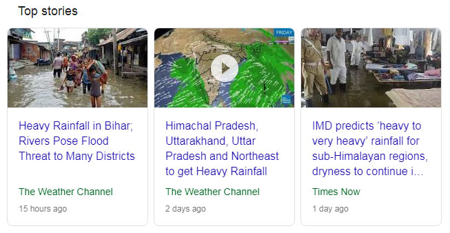 Heavy to very Heavy Rain fall India Isolated Places