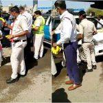 बल्लभगढ़ में राहगीरों को फल वितरित करते दिखे फरीदाबाद के पुलिसकर्मी