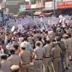 आम आदमी पार्टी के कार्यकर्ताओं ने कैबिनेट मंत्री मूलचंद शर्मा के कार्यालय का किया घेराव