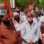 फरीदाबाद लघु सचिवालय पर लंबित मांगों को लेकर मजदूर संगठनों ने किया प्रदर्शन, बीएमएस ने सौंपा ज्ञापन