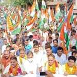 गांव फतेहपुर बिल्लौच के बाजार में शहीद सम्मान तिरंगा यात्रा निकाली